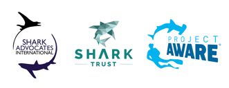 Logos: Shark Advocates International, The Shark Trust, Project Aware.