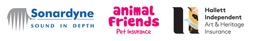 Logos - Corporate Supporters (Sonardyne, Animal Friends Pet Insurance and Hallett Independent)