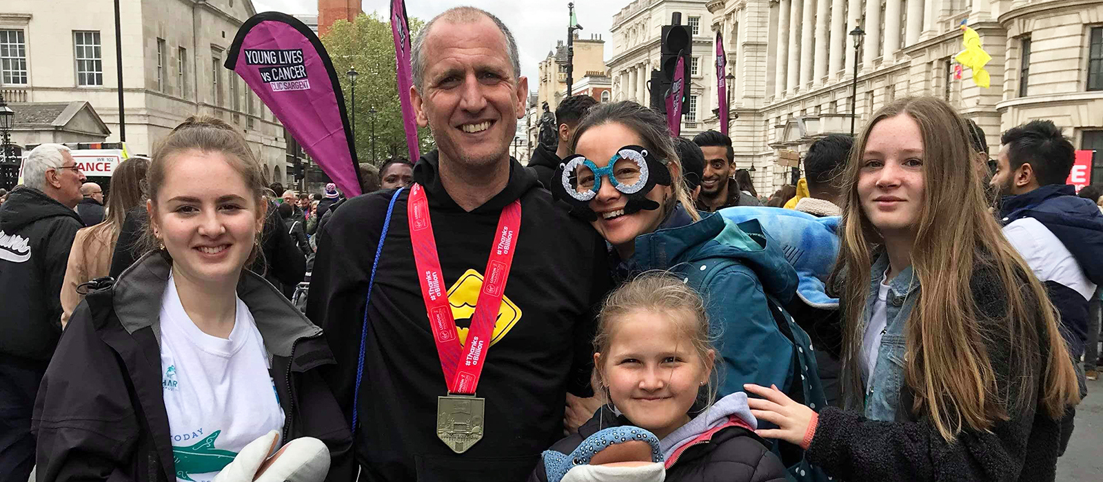 Shark Trust Managing Director with family after running the London Marathon for Sharks